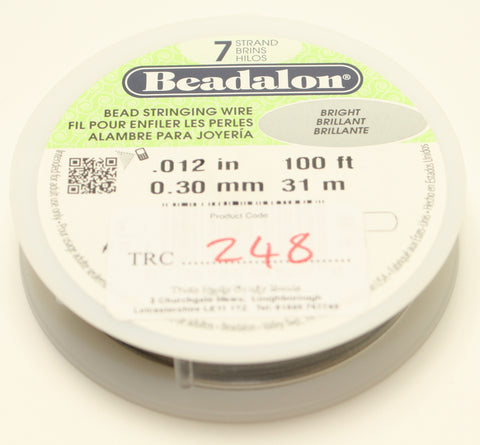 "Beadalon Bead Stringing Wire Bright Brilliant 0.12"" 100ft 0.30mm TRC248"