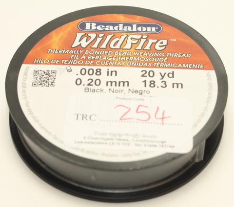 "Beadalon Wildfire .008"" 20yd 0.20mm Black TRC254"