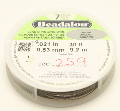 "Beadalon Bead Stringing Wire Bright Brilliant .021"" 30ft 0.53mm TRC259"