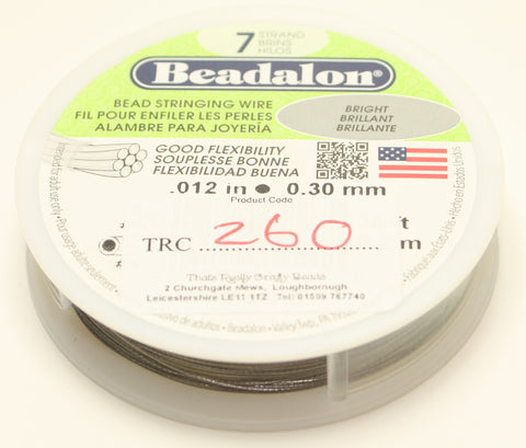 "Beadalon Bead Stringing Wire Bright Brilliant .012"" 0.30mm 30ft TRC260"