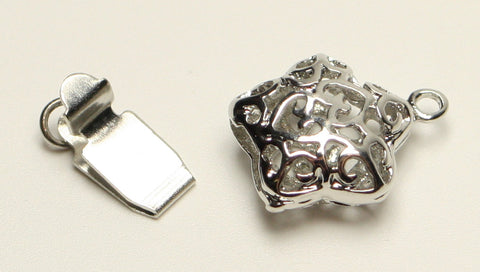 Star Box Clasps Filigree Design, Platinum Colour Nickel Free, 18x12x6mm 1pcs. TRC261
