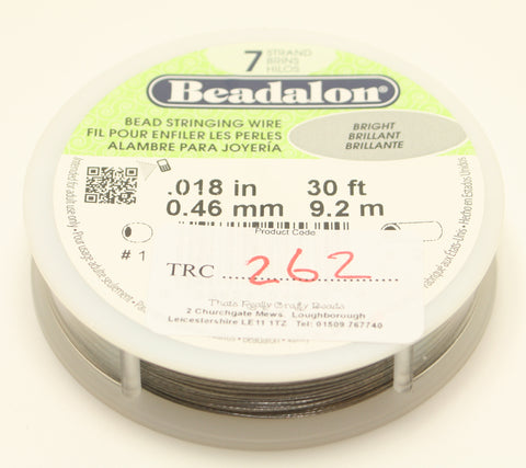 "Beadalon Bead Stringing Wire Bright Brilliant 0.18"" 30ft 0.46mm TRC262"