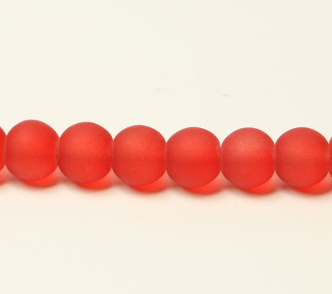 Fire Brick Red Transparent Frosted Glass Beads 8mm TRC296