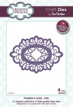 Creative Expressions Craft Dies by Sue Wilson - Frame and Tags Collection - Zoe