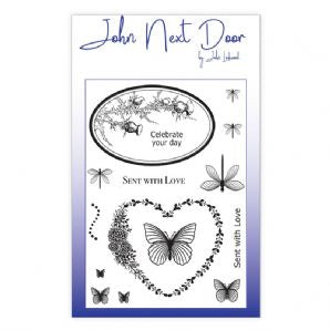 NEW John Next Door Clear Stamp - Butterfly Frames 14pcs