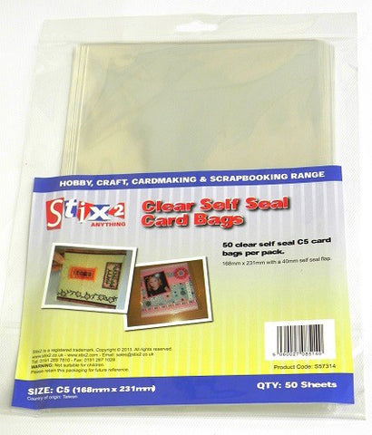 Self Seal 30 Micron Card C5L Bags 168mm x 231mm