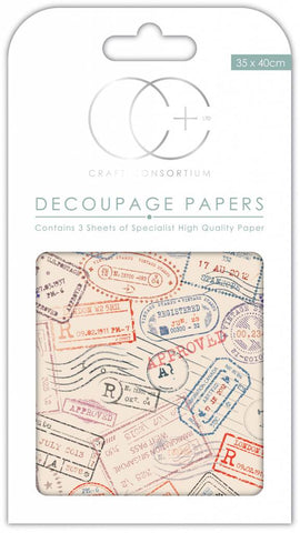 Air Mail Decoupage Paper 35 x 40cm pk 3 By Craft Consortium CCDECP271