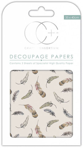 Falling Feathers Decoupage Paper 35 x 40cm pk 3 By Craft Consortium CCDECP268