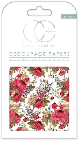Red Peony Decoupage Paper 35 x 40cm pk 3 By Craft Consortium CCDECP141