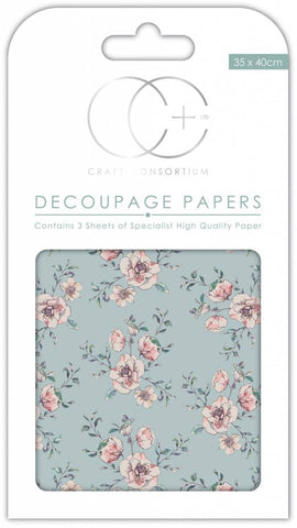 Rose Bloom Decoupage Paper 35 x 40cm pk 3 By Craft Consortium CCDECP269