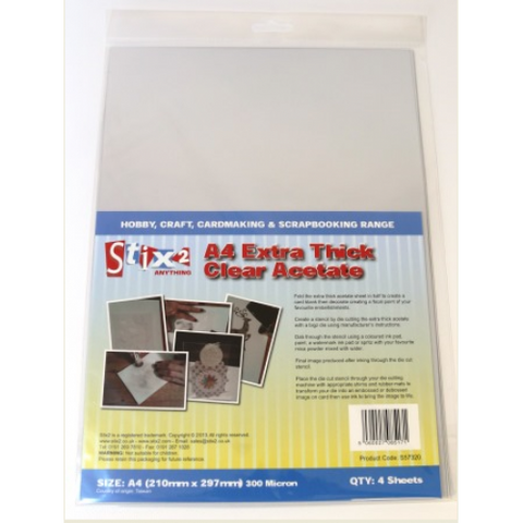 A4 Extra Thick Clear Acetate Sheets - 300 Micron thick - 210mm x 297mm (A4)