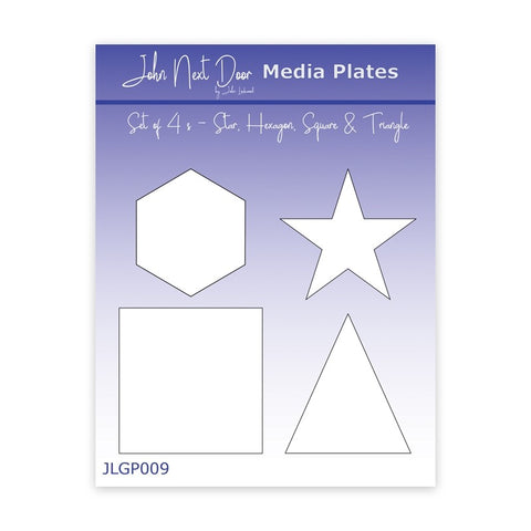 John Next Door Media Plate - Set of 4 Small Star, Hexagon, Square and Triangle JLG009
