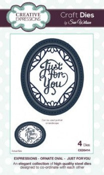 Creative Expressions Craft Dies by Sue Wilson - Expressions Dies - Ornate Oval - Just for You