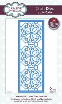 Creative Expressions Craft Dies by Sue Wilson - Striplets Collection - Ornate Octagons
