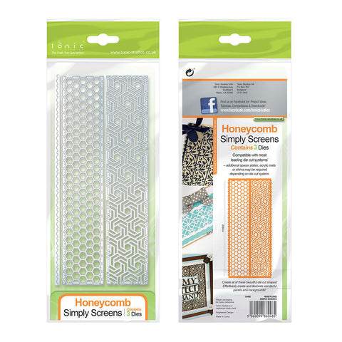 Honeycomb Hexagon Simply Screen Strip Die Set By Tonic Studios 1048e