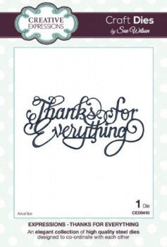 Thanks for Everything Craft Die by Sue Wilson By Creative Expressions (1pc) CED5410