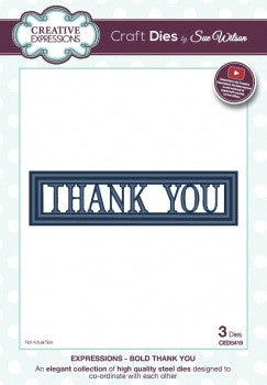 Bold Thank You Craft Dies Expressions Dies by Sue Wilson Creative Expressions CED5419