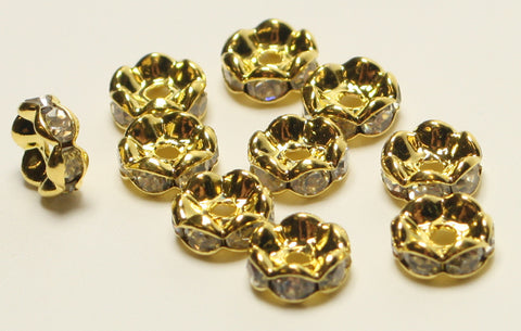 Rhinestone Spacer Beads Gold Plated Colour Nickel Free 8mm TRC163