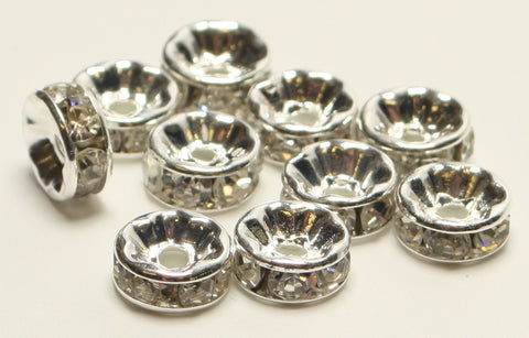 Rhinestone Spacer Beads Silver Plated Nickel Free 8mm TRC165