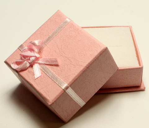 Pink Square Jewellery Gift, Ring, Earing Box with Pink Ribbon & Flower 5x5x3.5cm TRC177