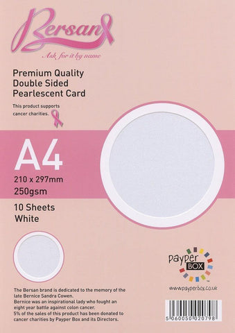 White Bersan Premium Pearlescent card 250gsm 10 Sheets