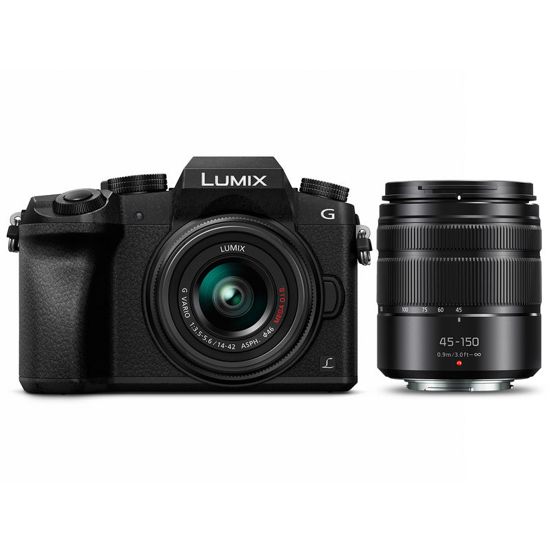 Panasonic LUMIX G7 Mirrorless Camera with 14-42mm & 45-150mm Lenses [Black]