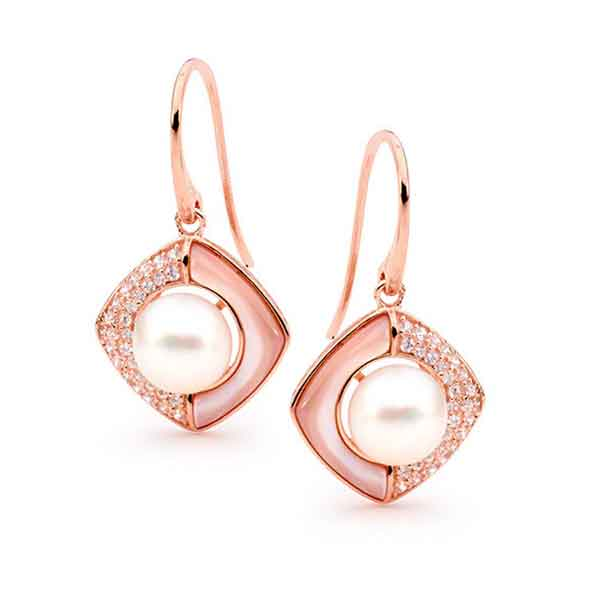 Freshwater Pearl, Mother of Pearl & Cubic Zirconia Hook Earrings 14ct Rose Gold Plated Sterling Silver