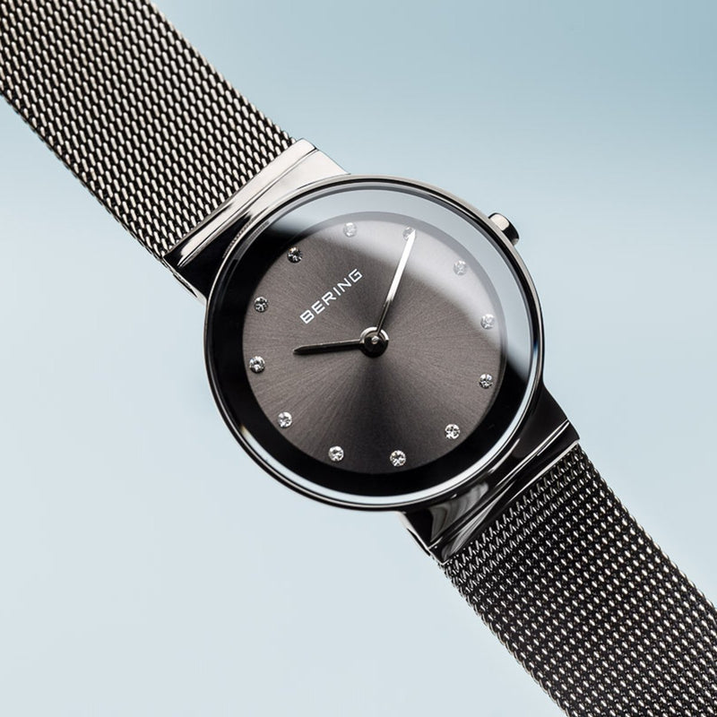 Bering Classic Polished Grey Mesh Watch