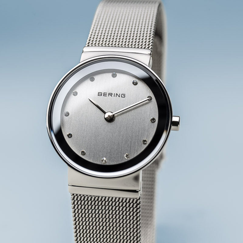 Bering Classic Polished Silver Mesh Swarovski Watch