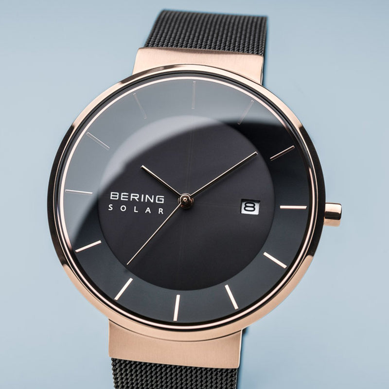 Bering Solar Polised Rose Gold Black Mesh Watch