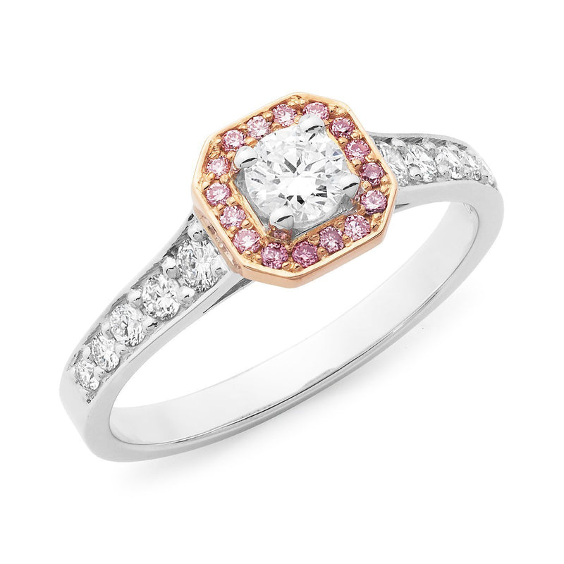 PINK CAVIAR 0.60ct White Round Brilliant & Pink Diamond Engagement Ring in 18ct White Gold