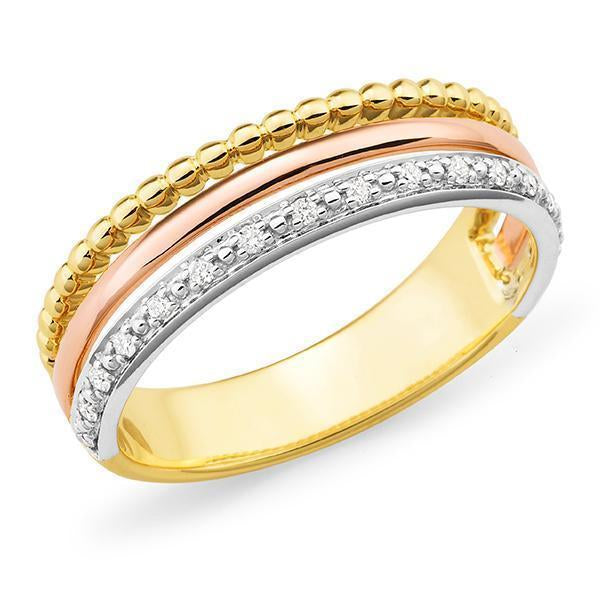 0.085ct Bead Set Diamond Dress Ring in 9ct Yellow White & Rose Gold