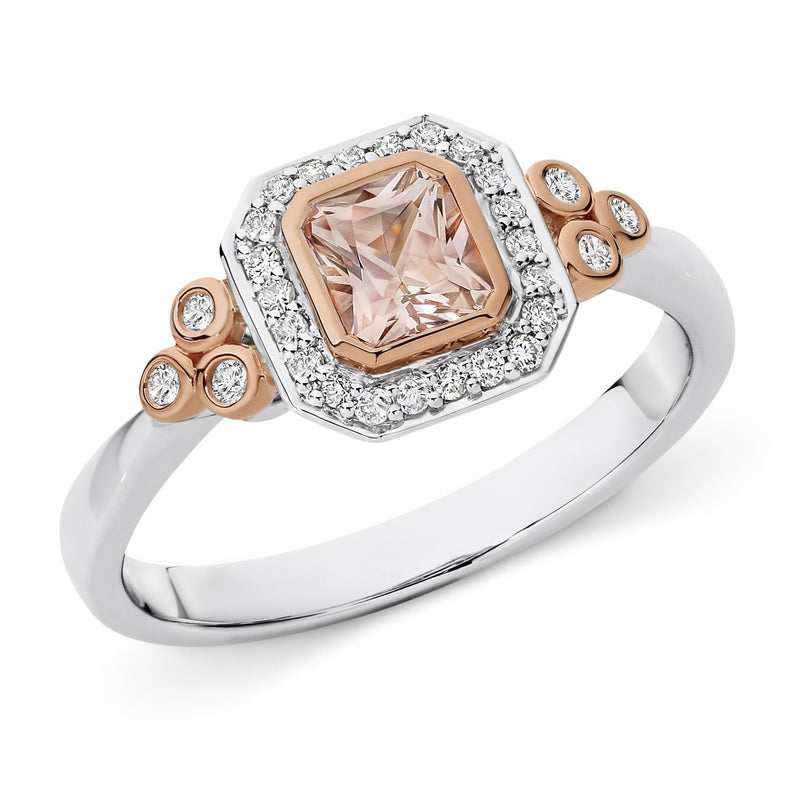 Morganite & Diamond Bezel Set Dress Ring in 9ct White/Rose Gold