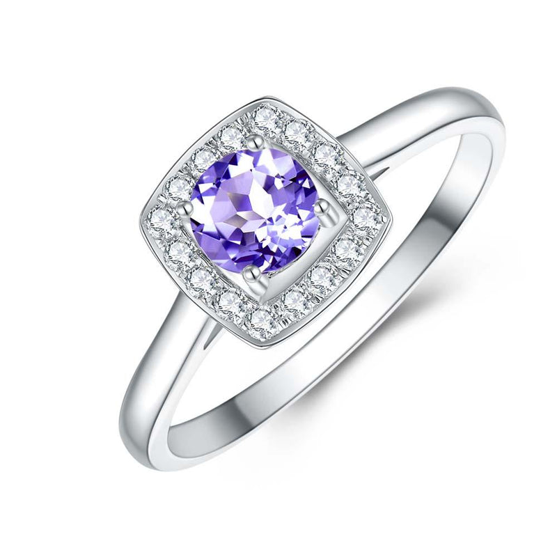 Tanzanite & Diamond Ring in 9ct White Gold