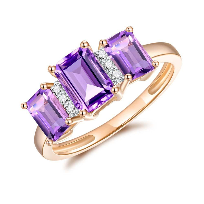 Amethyst & Diamond Ring in 9ct Yellow Gold