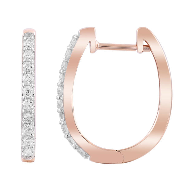 Huggie Earrings with 0.33ct Diamonds in 9K Rose Gold