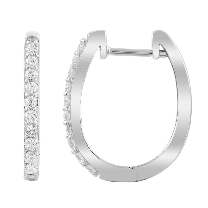 Huggie Earrings with 0.33ct Diamonds in 9K White Gold