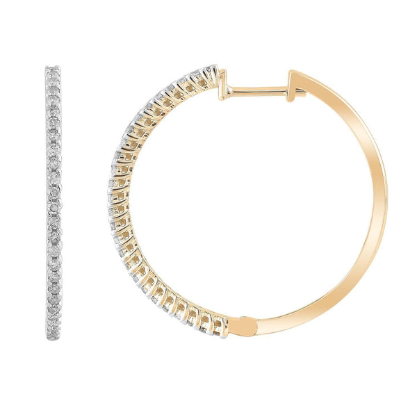 Hoop Earrings with 0.33ct Diamonds in 9K Yellow Gold