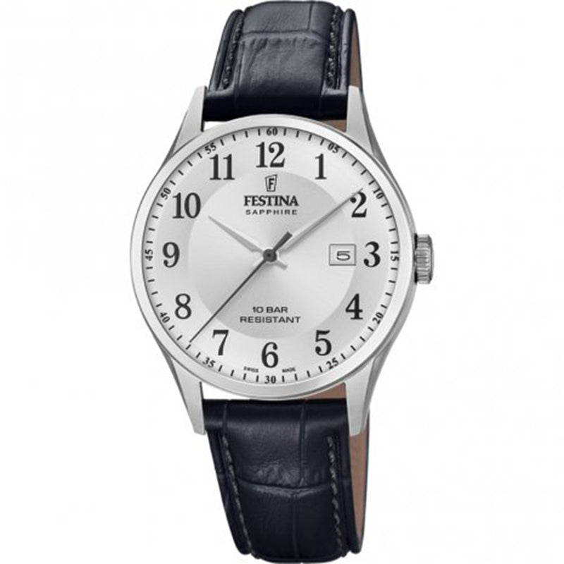 Festina Swiss Silver Dial Black Watch