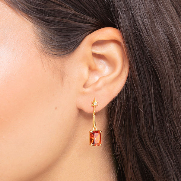Thomas Sabo Earrings Orange Stone