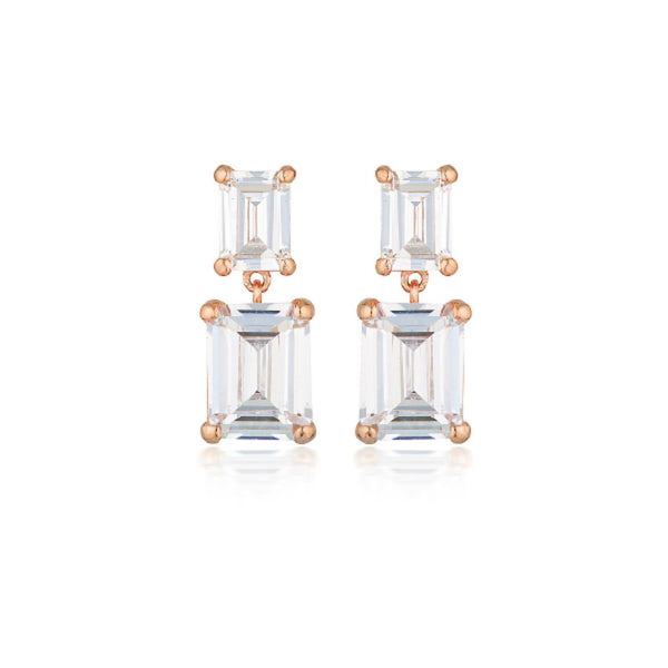 Georgini - Rinna Rose Gold Plated Sterling Silver Cubic Zirconia Baguette Drop Earring