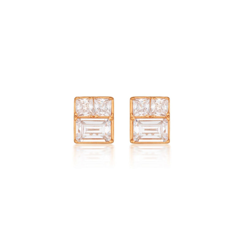 Georgini - Elena Mosaic Rose Gold Plated Sterling Silver Cubic Zirconia Stud Earrings