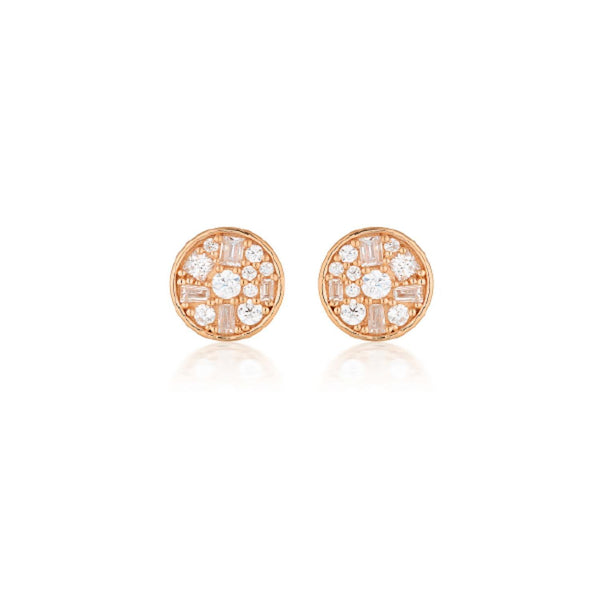 Georgini - Mini Mosaic Rose Gold Plated Sterling Silver Cubic Zirconia Stud Earrings