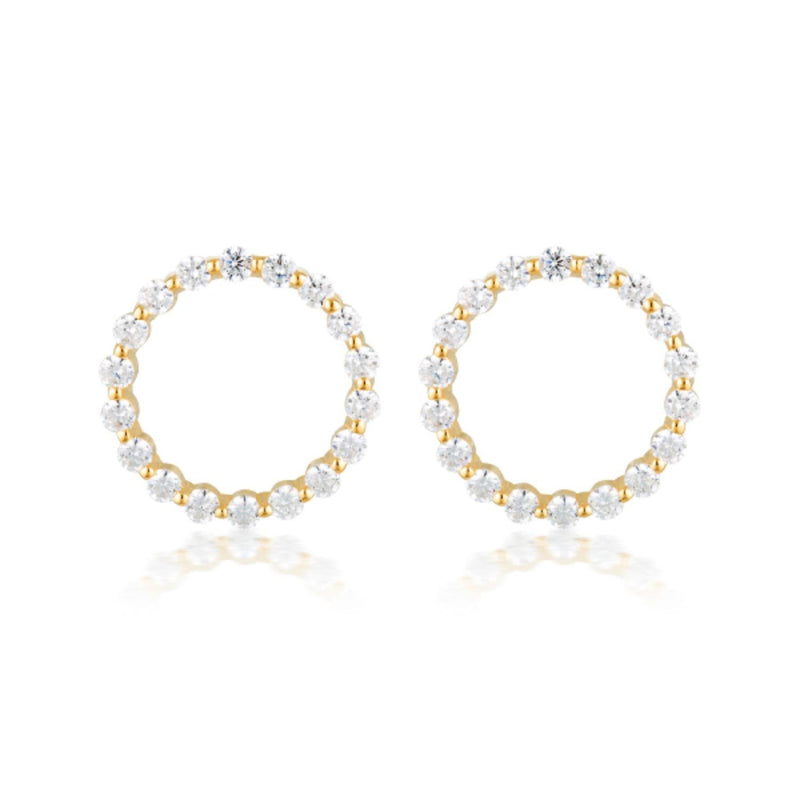 Georgini - Circle Of Life Large Yellow Gold Cubic Zirconia Stud Earrings