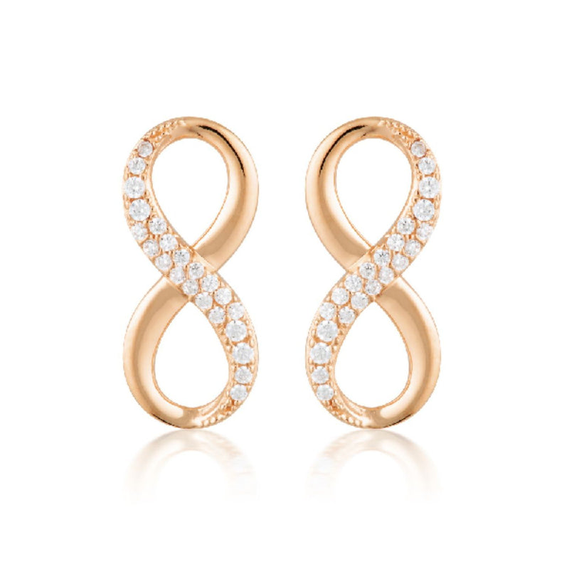 Georgini - Forever Infinity Rose Gold Plated Sterling Silver Cubic Zirconia Stud Earrings