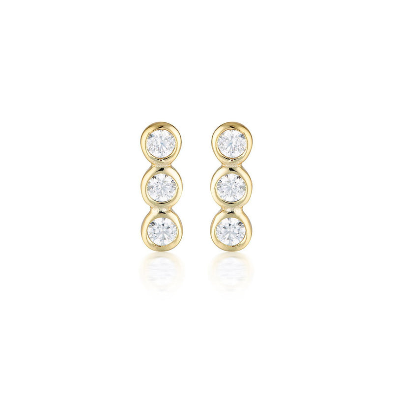 Georgini - Trio Gold Cubic Zirconia Stud Earrings