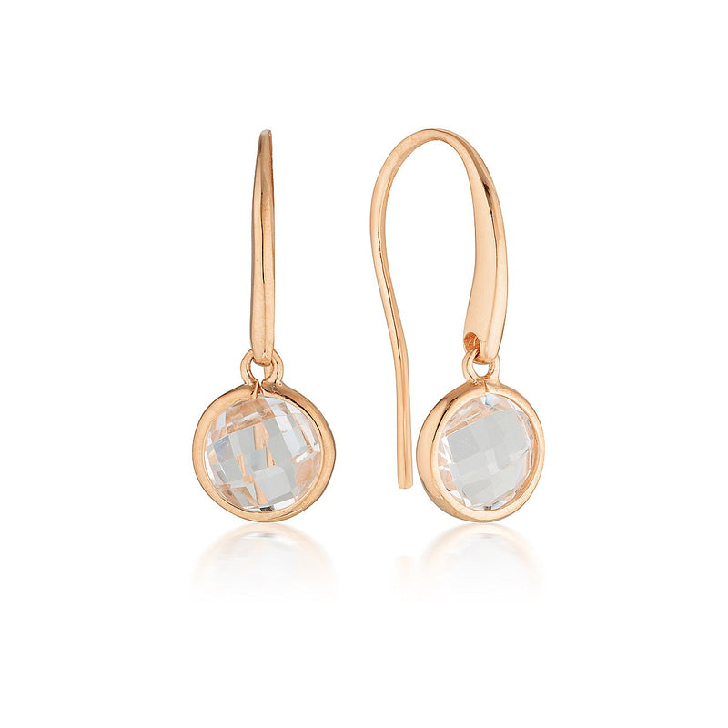 Georgini - Lucent Rose Gold Cubic Zirconia Drop Earrings Small
