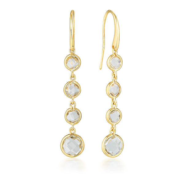 Georgini - Helois Yellow Gold White Topaz Drop Earrings