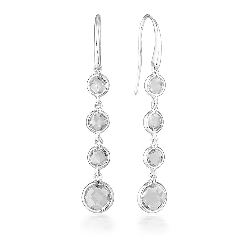 Georgini - Helios Sterling Silver White Topaz Drop Earrings
