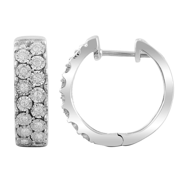 Huggie Earrings with 0.23ct Diamonds in 9K White Gold